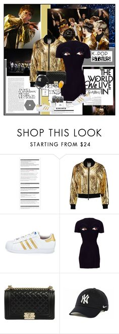 """""""Your Favorite K-Pop Superstar: EXO"""" by summervintage ❤ liked on Polyvore featuring Arche, DKNY, adidas, Moschino and NIKE"""
