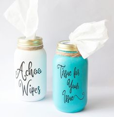 Bless you mason jar tissue holder,teacher's gift, housewarming gift – Gift Ideas Mason Jar Gifts, Mason Jar Diy, Craft Gifts, Diy Gifts, Mason Jar Projects, Mason Jar Lighting, Decorated Jars, Painted Mason Jars, Diy Home Decor Projects