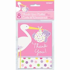 Pink Stork Baby Shower Thank You Cards, 8ct