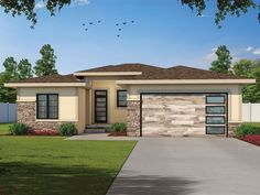 031H-0453: One-Story Contemporary House Plan House Plans 3 Bedroom, Garage House Plans, Best House Plans, Car Garage, Prairie Style Houses, Contemporary Style Homes, Small Contemporary House Plans, Stucco Exterior, Monster House Plans