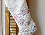Christmas Stocking from Vintage Quilt chenille white country antique shabby chic white linen hankie