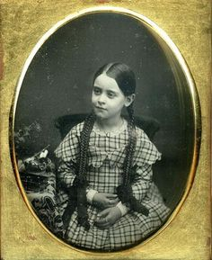 Beautiful young girl. Look at those braids. C.1850