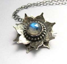 Sterling Silver Rainbow Moonstone Lotus Necklace  by Mocahete, $228.00