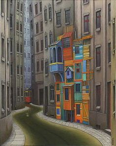 My Mokotowska - (Jacek Yerka) #surrealism #art #oilpainting #city #street #yerka #jacek