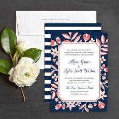 Preppy Florals Wedding Invitations by Emily Crawford | Elli