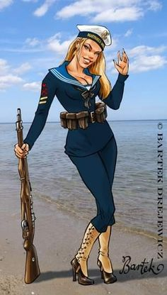 Comic Book Artists, Comic Artist, Anime Uniform, Pin Up Drawings, Comic Art Girls, Military Girl, Military History, Woman Drawing, Drawing Women