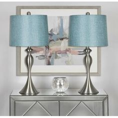 Bed Side Table Lamps with Turquoise Shade, Set of 2 – Linen and Brushed Nickel for sale online Metal Table Lamps, Table Lamp Sets, Lighting Sale, Home Lighting, Turquoise Lamp Shade, Front Entry Tables, Side Tables, Lamp Shade Store, Transitional Wall Sconces