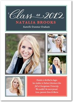 type- not so much the grid. Graduation Announcements Spirited Triumph - Front : Coral