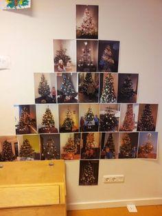 Decoratie: Een leerkracht liet al haar kleuters een foto van hun kerstboom thuis meenemen en maakte van al die foto's weer één grote kerstboom! Hoe leuk is dat (en denk eens aan al die wiskunde die in deze activiteit verborgen zit)!