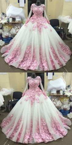 Ball Gown New Style Long Sleeve Tulle Prom Dress with Pink Flowers, Ivory Wedding Dress Bal Wedding Dress Organza, Pink Wedding Dresses, Prom Dresses 2018, Ball Gowns Prom, Tulle Prom Dress, Wedding Dress Sleeves, Quinceanera Dresses, Ball Dresses, Gown Wedding