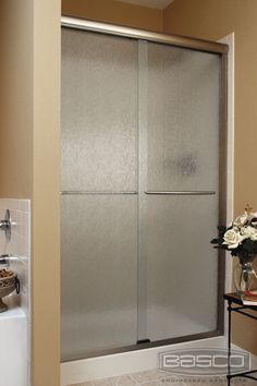 Basco Shower Enclosures - Infinity 4500 Silver Finish with Rain Glass