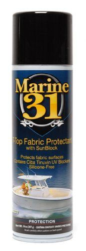 Marine 31 T-Top Fabric Protectant with SunBlock Formulated using SunBlock technology - a fusion of Marine 31's proprietary UV absorbers and advanced Ciba Tinuvin UV Blockers. Treated surfaces will retain their color and texture while repelling dirt, dust, oil, grease, acid rain, salt, insects and bird droppings.. Regularly treated surfaces will resist UV-induced fading, cracking and discoloring.. ... #Marine_31 #Automotive_Parts_and_Accessories