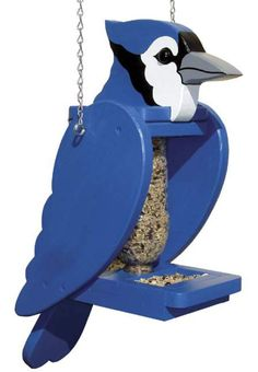 19-W3654 - Blue Jay Pop Bottle Bird Feeder Woodworking Plan. #WoodworkingPlans