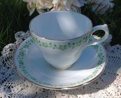 White & Green English Castle Bone China Teacup by BellesTeaShop