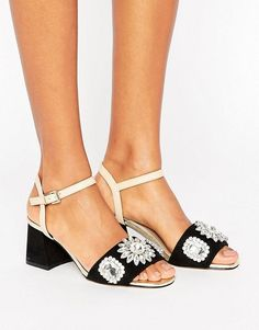 River Island Two Strap Gem Encrusted Sandals