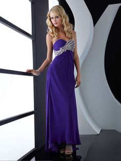 Column Dark Purple Sweetheart Open Back Long Prom Dress With Sequins EPMD0586