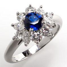 Tiffany & Co. Blue Sapphire & Diamond Ring Platinum