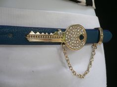 Brown Nude / Blue / Black / Light Pink Hip Waist Thin Belt Metal Multi Rhinestones Gold Key Buckle New Women Fashion Accessories Medium