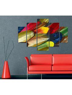 Venta privada Cuadro de 5 piezas Plumas de colores Deco Wall