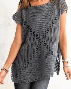 Modèles de pull à tricoter - Örgü Kazak Modelleri - Débardeurs Au Crochet, Crochet Tunic Pattern, Mode Crochet, Crochet Shirt, Crochet Woman, Crochet Cardigan, Crochet Patterns, Diy Crafts Crochet, Crochet Fashion