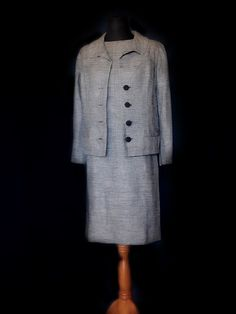 Black and white suit dress Linen and silk mix