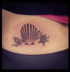 Seashell tattoo. Would like this on my leg - but more colorful