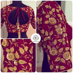 Fully embellished burgundy red raw silk blouse made to pair with golden jacqaurd tissue silk saree. Beauty in every detail so meticulously handcrafted . Beautiful maroon color designer blouse with floret lata design hand embroidery zardosi work.  30 August 2018