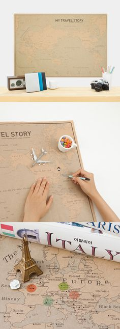 Create your very own travel story with this vintage style Kraft World Map! Mark where you've been and where you want to go. Stay inspired and dream big! More