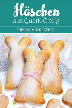 Bunny made from quark oil dough. Easter sweets from the Thermomix. - These bunnies are an absolute eye-catcher and a snap. Perfect for spontaneous visits or if you just - Baking Recipes, Cake Recipes, Dessert Recipes, Baking With Kids, Easter Recipes, Tasty Dishes, Sweet Recipes, Crockpot Recipes, Food And Drink