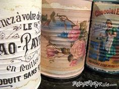 DIY DOLLARS super easy Tin Cans to Shabby Vintage Vase and Storage Beauties ! Using Free Graphics ! Great for Home And Ideal as Gifts !
