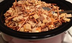 "Crockpot chex mix - gonna do this with just the chex cereal since I can't find any ""Just Chex"" mix in the original flavor."