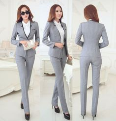 Cheap formal pantsuit, Buy Quality business woman suit directly from China womens business suits Suppliers: New Elegant Grey 2015 Autumn Winter Business Women Suits Jackets And Pants Formal Pantsuits Female Work Wear Office Ladies Sets Business Outfits Women, Business Attire, Business Women, Business Clothes, Classy Winter Outfits, Trendy Outfits, Fashion Outfits, Womens Fashion, Work Outfits