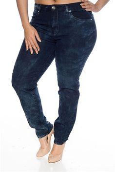 0f8ffb57c65 Rain Splotched Faded Plus Size Skinny Jeans - Blue from U-51 at Lucky 21