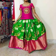 Green Ikkat Lehenga Pin k Blouse Frocks For Girls, Dresses Kids Girl, Kids Outfits, Kids Blouse Designs, Bridal Blouse Designs, Kids Lehenga Choli, Kids Dress Wear, Baby Dress, Kids Frocks Design