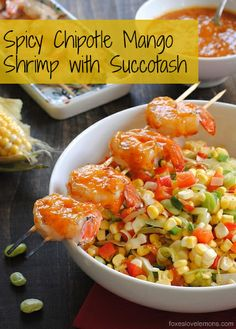 Spicy Chipotle Mango Shrimp with Succotash - a fresh, light summer dish that comes together in under 30 minutes. Lunch Recipes, Summer Recipes, Dinner Recipes, Cooking Recipes, Healthy Recipes, Dinner Ideas, What's Cooking, Healthy Foods, Shellfish Recipes