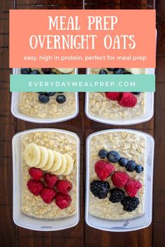 Meal prep overnight oats are great to make over the weekend and enjoy all week long. Top with your favorite healthy ingredients to change things up!
