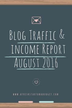 Blog Traffic and income Report August 2016