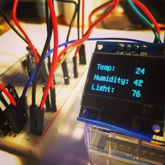 More #arduino kit today - 128x64 pixel OLED Display. First task was displaying temp/humidity/light info from my test project. #technology #learning #education #fun #electronics by douglaswelch