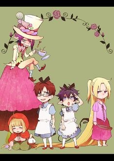 'Blue Exorcist ~~ Fairy Tales' Ha ha Arthur A. Angel as Rapunzel makes me laugh the most, followed closely by Yukio and Rin as Alice. Mephisto and Shiemi fit perfectly.