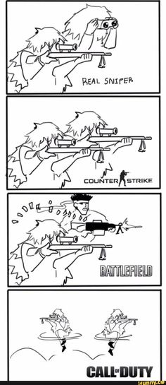 Funny lol -- The snipers in games Daily Funny jokes Funny Gaming Memes, Gamer Humor, Stupid Funny Memes, Video Game Logic, Video Games Funny, Funny Games, Video Humour, Fps Games, Geek Culture
