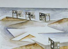 Steven Holl's architectural drawing Canal House Types, Erie Canal Edge, 1988 (via sfmoma) Steven Holl, Watercolor Architecture, Art And Architecture, Museum Of Modern Art, Art Museum, New York Projects, San Francisco Museums, Nanjing, Types Of Houses