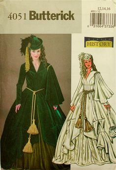 """Scarlet's Drapery Dress Costume """"Gone With the Wind"""" Butterick 4051  Uncut"""