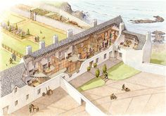The Lodgings at Dunluce Castle in Co Antrim, Ireland in the 16th Century by Philip Armstrong