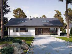 Projekt domu parterowego Endo 3 o pow. 187,85 m2 z dachem dwuspadowym, z tarasem, z antresolą, sprawdź! Home Fashion, Garage Doors, House Design, House Styles, Outdoor Decor, Home Decor, Attic, Home Layouts, Loft Room