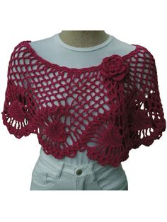 Show off your crochet skills with this beautiful crochet wrap. This romantic crochet capelet is perfect for a special night out or to dress up jeans and a t-shirt. This classic yet modern crochet pattern is not for the novice -- it does take some skill to complete, but once you get it started, it is easy going with a pineapple repeat pattern. Crocheted from side-to-side starting at the right front edge, shaping is achieved with the neckline border. Instructions are included for capelet and…