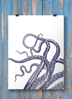 Nautical octopus tentacles print - Two color options: Navy and white + Black & white Printable wall art