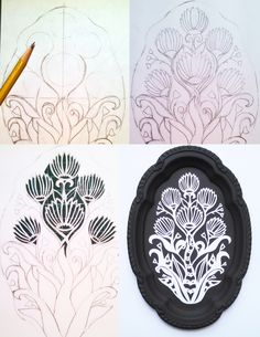 Behind the scenes: process of my latest papercut mounted to an up-cycled silver plate tray. Yvonne Laube Design 2014