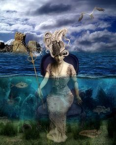 kathy grieb kennedy The Lady In The Sea  Background: Paradise 234 @ DeviantArt. Elements: Pink Lotty and Itkupilli @ DeviantScrap.