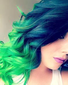 Pravana Neon blue/neon green IG:@beautybysam94 Neon Green, Hair Styles, Blue, Beauty, Color, Hair Plait Styles, Hair Makeup, Colour, Hairdos