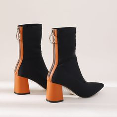 Chiko Calder Color Block Heel Ankle Boots feature pointy toe, back zipper opening, block heels with rubber sole. Block Heel Ankle Boots, Block Heel Shoes, Popular Shoes, Fall Shoes, Pretty Shoes, Cool Boots, Dress With Boots, Me Too Shoes, Fashion Shoes